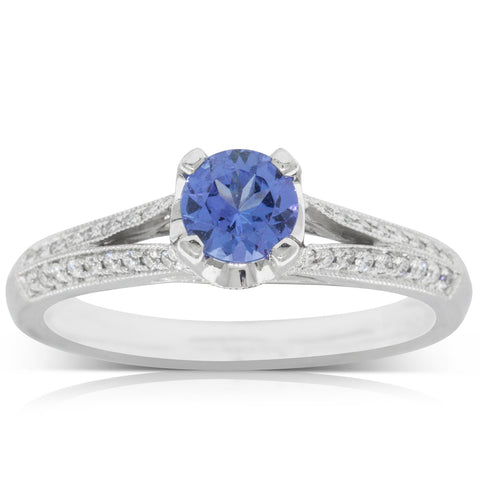 18ct White Gold .49ct Tanzanite & Diamond Eiffel Ring - Walker & Hall