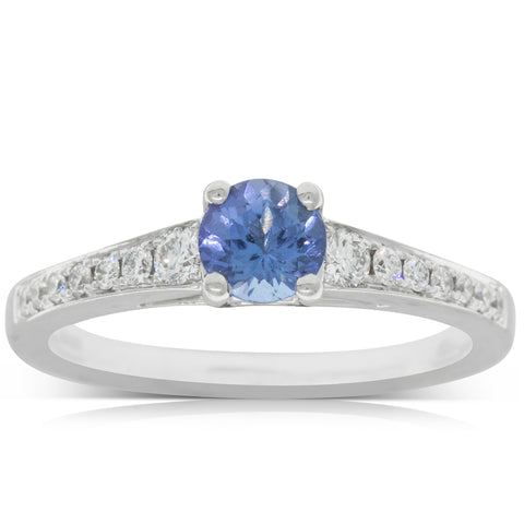 18ct White Gold .56ct Tanzanite & Diamond Vantage Ring - Walker & Hall