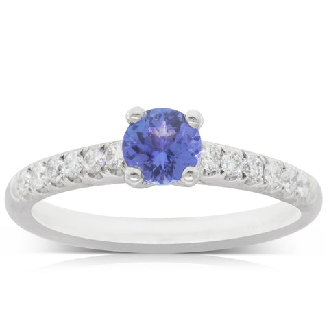 Platinum .51ct Tanzanite & Diamond Meridien Ring - Walker & Hall
