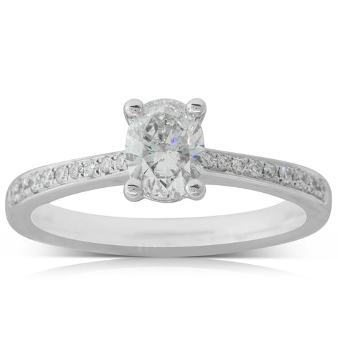 18ct White Gold .59ct Oval Diamond Ring - Walker & Hall