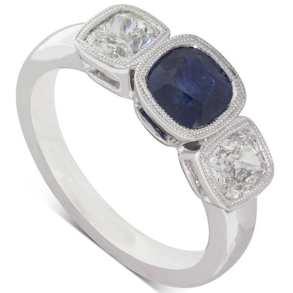18ct White Gold 1.34ct Sapphire & Diamond Ring - Walker & Hall