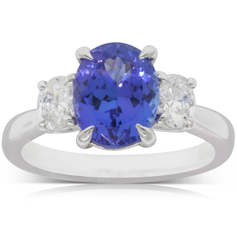 18ct White Gold 2.85ct Tanzanite & Diamond Ring - Walker & Hall