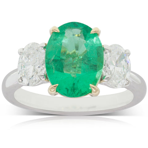 18ct White & 18ct Yellow Gold 2.50ct Emerald & Diamond Ring - Walker & Hall