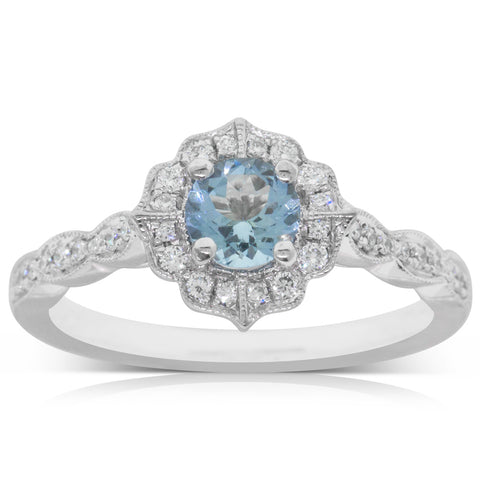 18ct White Gold .43ct Aquamarine & Diamond Paramount Ring - Walker & Hall