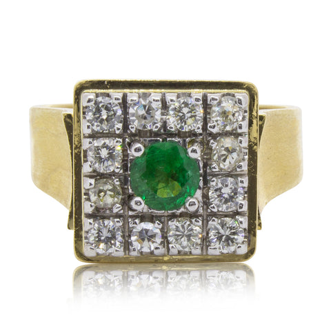 Vintage 18ct Yellow Gold .45ct Emerald & Diamond Ring - Walker & Hall
