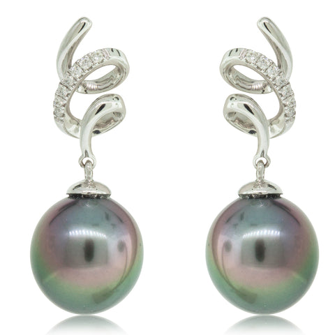 18ct White Gold 10.3mm Black Pearl & Diamond Drop Earrings - Walker & Hall