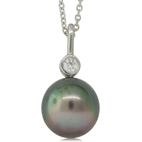 18ct White Gold 10.6mm Black Pearl & Diamond Pendant - Walker & Hall