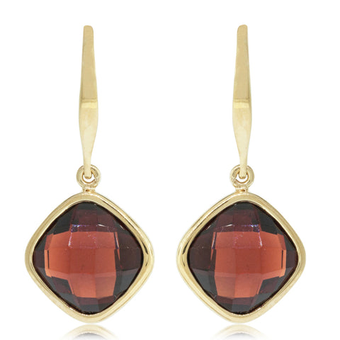 9ct Yellow Gold Garnet Drop Earrings - Walker & Hall