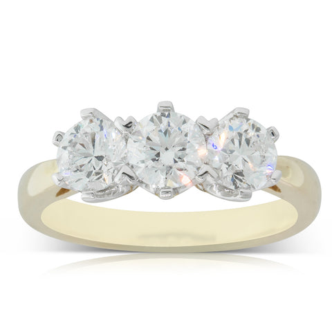 18ct Yellow Gold 1.54ct Diamond Trilogy Ring - Walker & Hall