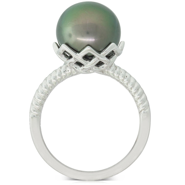 18ct White Gold 11.3mm Black Pearl Selene Ring - Walker & Hall