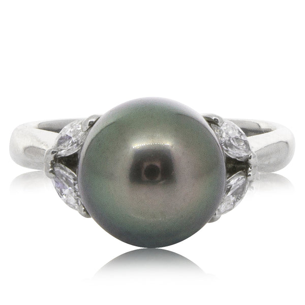 Deja Vu Platinum 9.5mm Black Pearl & Diamond Ring - Walker & Hall