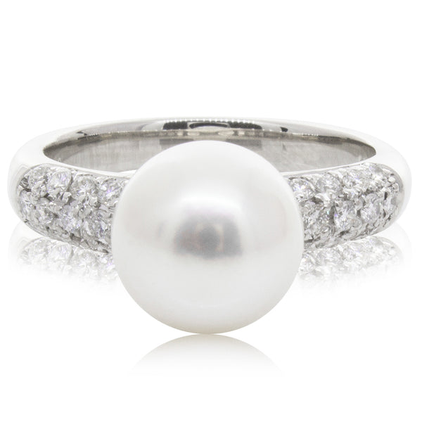 Deja Vu Platinum 9.1mm Akoya Pearl and Diamond Ring - Walker & Hall