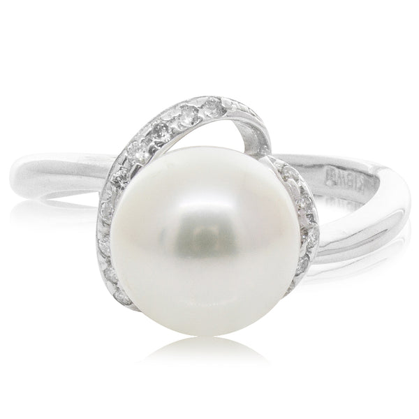 Deja Vu 18ct White Gold Akoya Pearl and Diamond Ring - Walker & Hall
