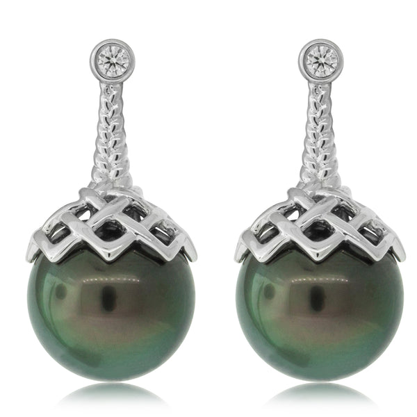 18ct White Gold 10-11mm Tahitian Black Pearl & Diamond Selene Earrings - Walker & Hall