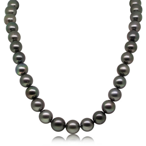 9ct White Gold 10.8-12mm Tahitian Black Pearl Strand - Walker & Hall