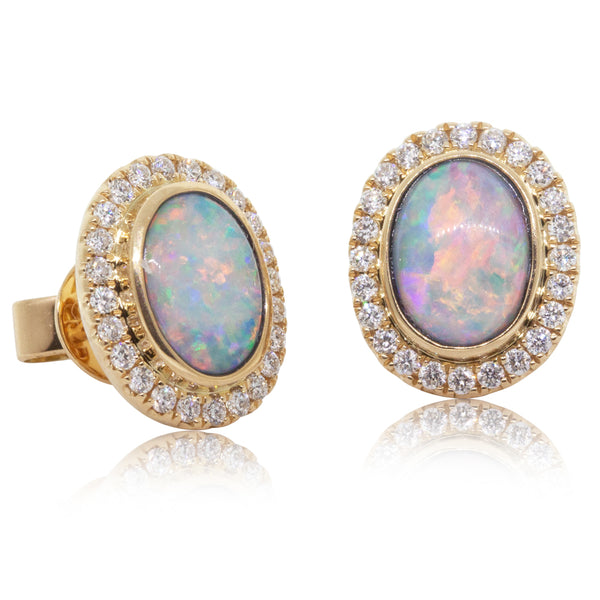 18ct Yellow Gold 1.22ct Opal & Diamond Halo Earrings - Walker & Hall