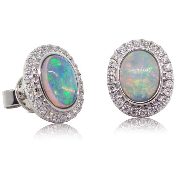 18ct White Gold 1.40ct Opal & Diamond Halo Earrings - Walker & Hall