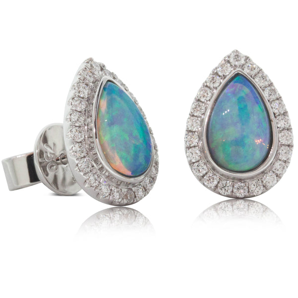 18ct White Gold 1.08ct Opal & Diamond Halo Earrings - Walker & Hall