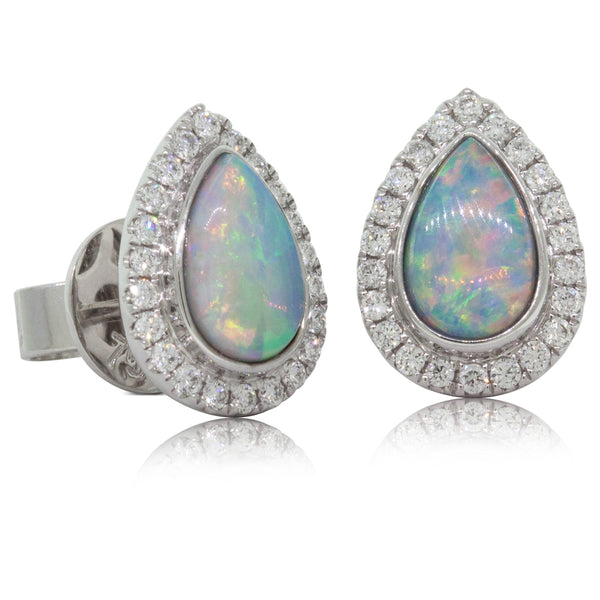 18ct White Gold 1.04ct Opal & Diamond Halo Earrings - Walker & Hall