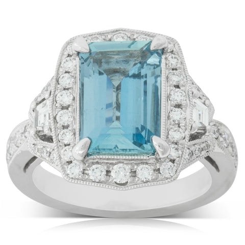 18ct White Gold 3.00ct Aquamarine & Diamond Halo Ring - Walker & Hall