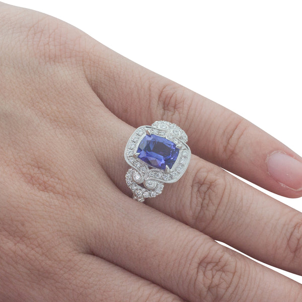 18ct White Gold 2.38ct Tanzanite & Diamond Halo Ring - Walker & Hall