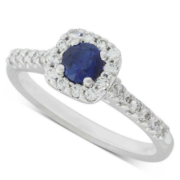18ct White Gold .45ct Sapphire & Diamond Halo Ring - Walker & Hall