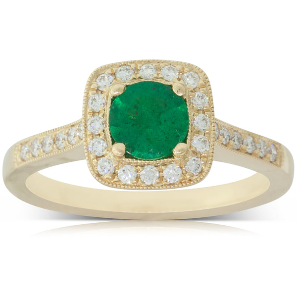 18ct Yellow Gold .58ct Emerald & Diamond Halo Ring - Walker & Hall