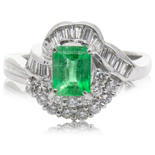 Deja Vu Platinum .52ct Emerald & Diamond Ring - Walker & Hall
