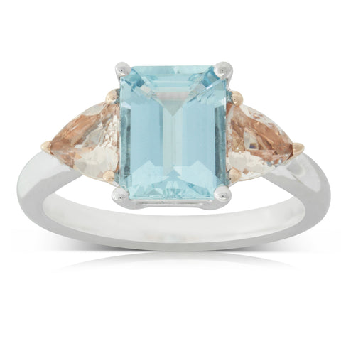 18ct Rose & White Gold 1.98ct Aquamarine & Morganite Malibu Ring - Walker & Hall