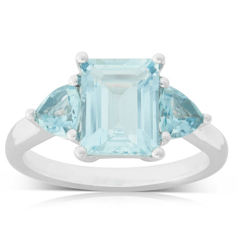 18ct White Gold 2.21ct Aquamarine Malibu Ring - Walker & Hall