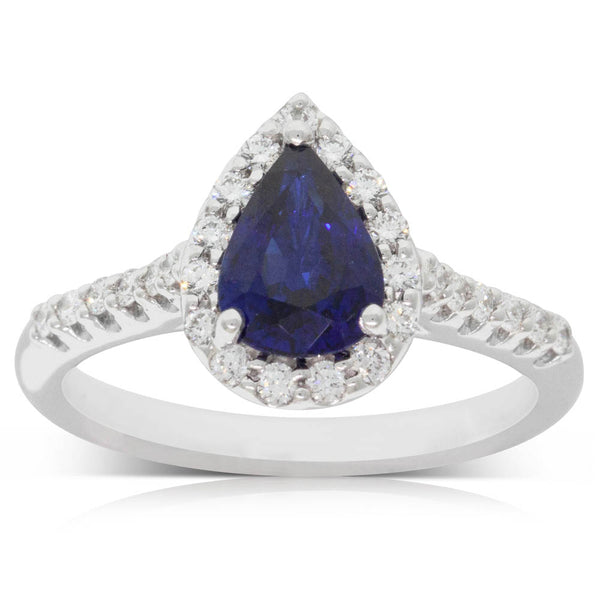18ct White Gold 1.25ct Sapphire & Diamond Halo Ring - Walker & Hall
