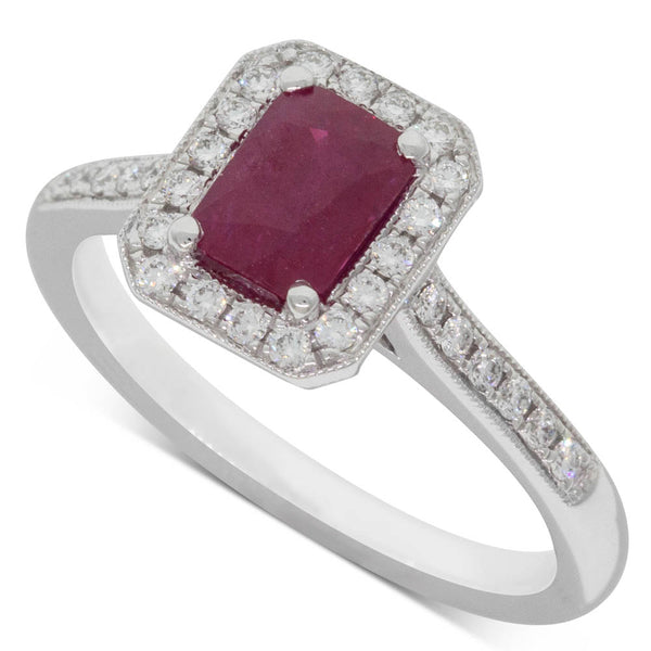 18ct White Gold 1.04ct Ruby & Diamond Halo Ring - Walker & Hall