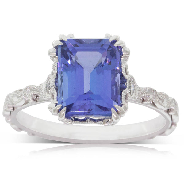 18ct White Gold 3.05ct Tanzanite & Diamond Romanov Ring - Walker & Hall