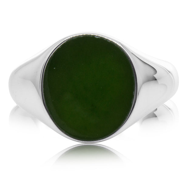 Sterling Silver NZ Greenstone Oval Signet Ring - Walker & Hall