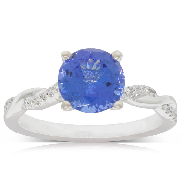 18ct White Gold 1.94ct Tanzanite & Diamond Ring - Walker & Hall