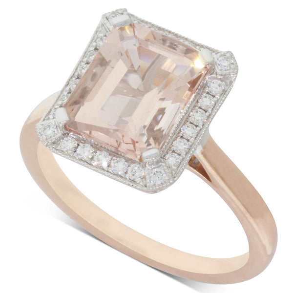 18ct Rose Gold 2.91ct Morganite & Diamond Empire Ring - Walker & Hall