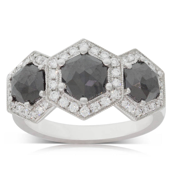 18ct White Gold 2.32ct Black Diamond Ring - Walker & Hall