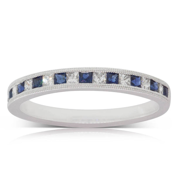 18ct White Gold .32ct Sapphire & Diamond Ring - Walker & Hall