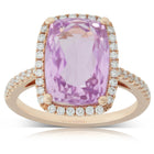 18ct Rose Gold 6.97ct Kunzite & Diamond Halo Ring - Walker & Hall