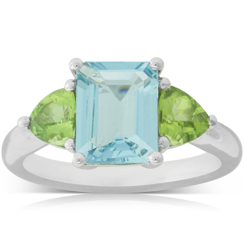 18ct White Gold 1.78ct Aquamarine & Peridot Malibu Ring - Walker & Hall