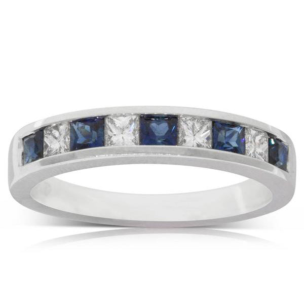 18ct White Gold .64ct Sapphire & Diamond Ring - Walker & Hall