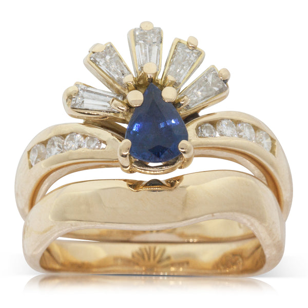 Vintage 18ct Yellow Gold .50ct Sapphire & Diamond Ring Set - Walker & Hall
