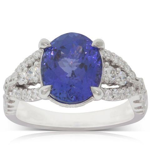 18ct White Gold 4.05ct Tanzanite & Diamond Ring - Walker & Hall