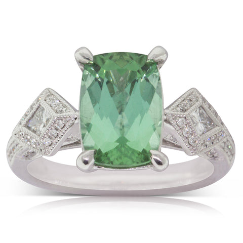 18ct White Gold 3.06ct Tourmaline & Diamond Ring - Walker & Hall