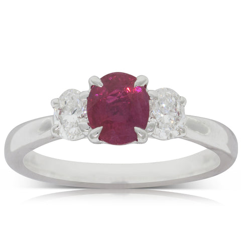 18ct White Gold 1.11ct Ruby & Diamond Ring - Walker & Hall