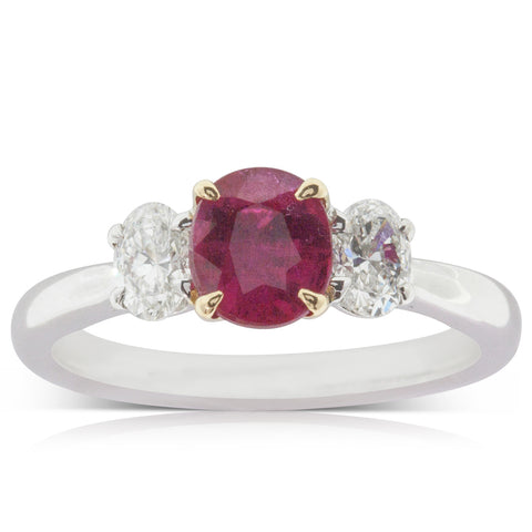 18ct White Gold 1.02ct Ruby & Diamond Ring - Walker & Hall