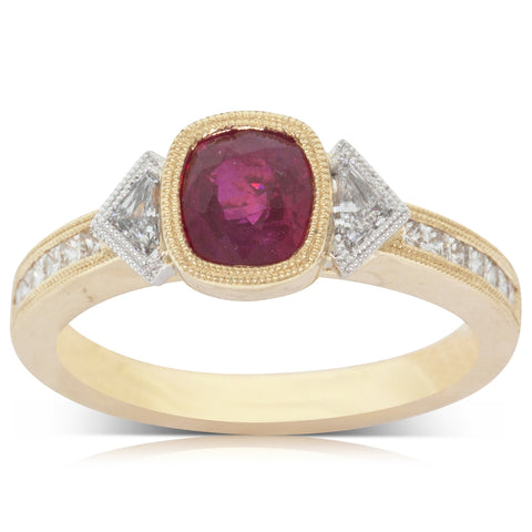 18ct Yellow Gold 1.17ct Ruby & Diamond Ring - Walker & Hall