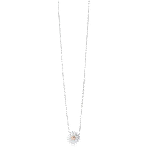 Sterling Silver & Rose Gold Plated Dahlia Pendant - Walker & Hall