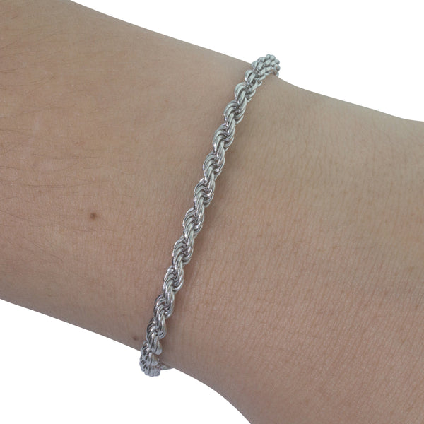 Sterling Silver Triple Trace Link Bracelet - Walker & Hall