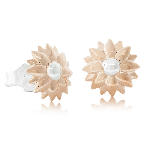 Rose Gold Plated & Sterling Silver Dahlia Stud Earrings - Walker & Hall